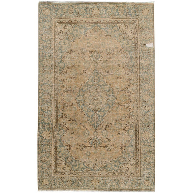 Vintage Distressed Persian Tabriz Rug For Sale In New York - Image 6 of 6