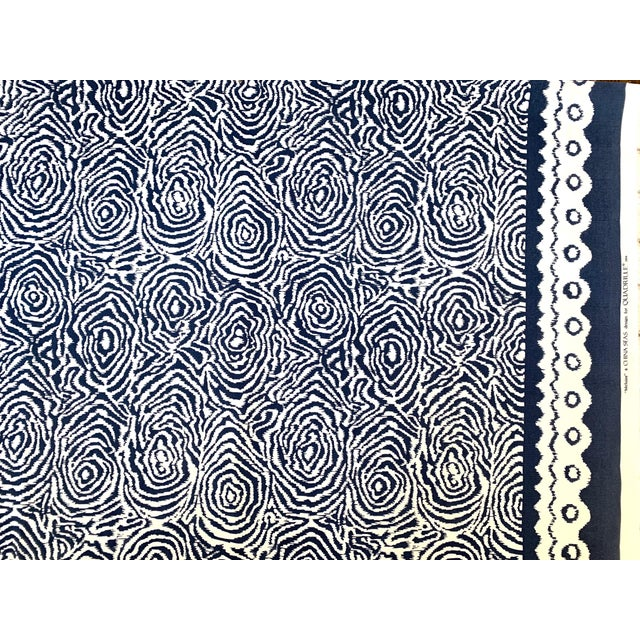 Alan Campbell for Quadrille Fabrics on Suncloth - Meloire Reverse in Navy on White.