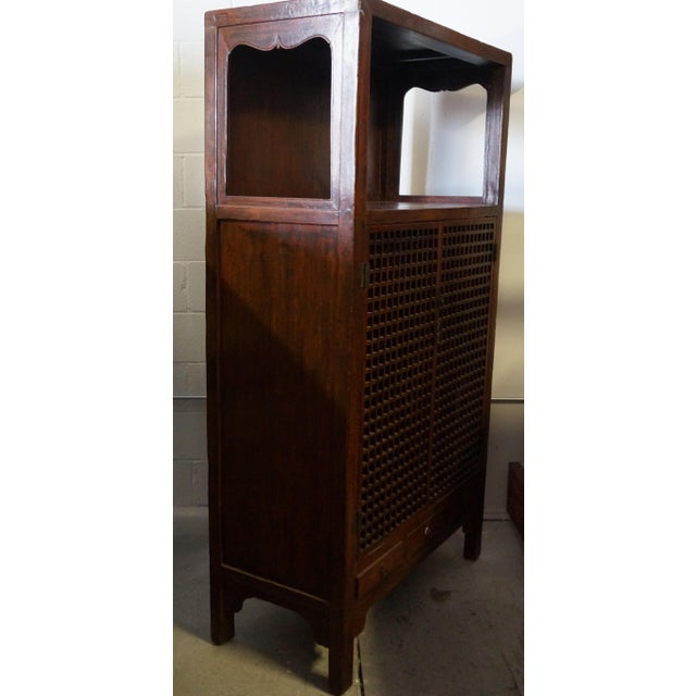 Antique Chinese Cabinet With Open Lattice Panel Doors - Image 3 of 7 - Antique Chinese Cabinet With Open Lattice Panel Doors Chairish