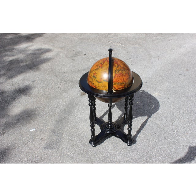 French Mid-Century Solid Mahogany World Globe Bar - Image 7 of 11