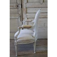 19th Century Carved and Painted French Chair in Antique Linen For Sale - Image 5 of 6
