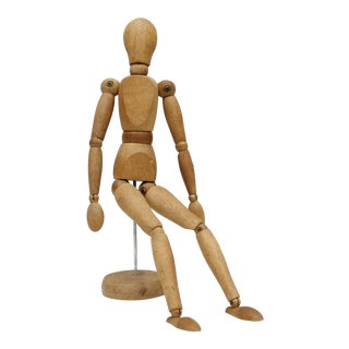 Vintage Wood Drawing Figure Artist Model With Stand Articulated Wooden For Sale