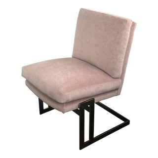 1970s Vintage Milo Baughman Style Velvet Slipper Chair For Sale