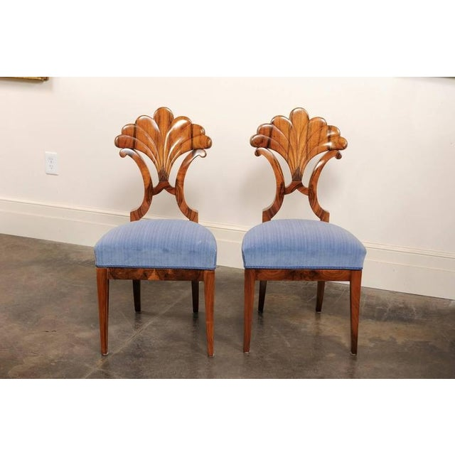 Pair of Austrian Biedermeier Fan Back Chairs with Light Blue Upholstery, 1840 - Image 7 of 10