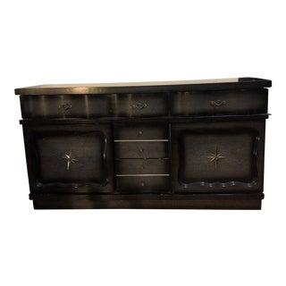 Mid Century Black Nine Drawer Dresser For Sale