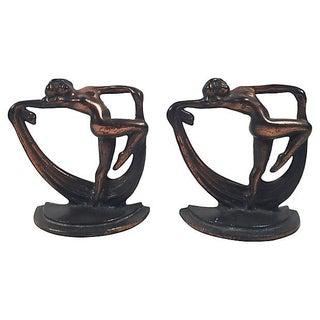 Crescent Art Deco Figural Bronze Bookends- A Pair Preview