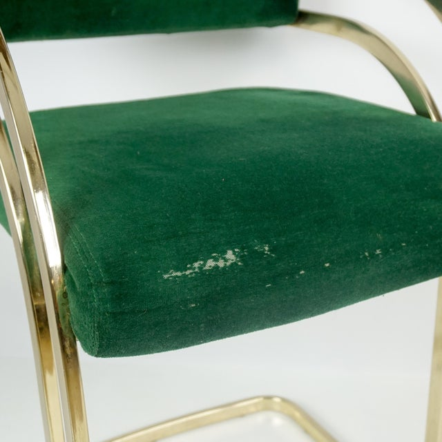 Green Comtemporary Shell Brass Cantilever Bar Stools - a Pair For Sale - Image 8 of 11