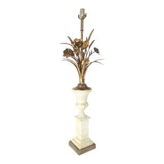 Wheat Sheath Flowers Marble Pedestal Shape Base Table Lamp For Sale