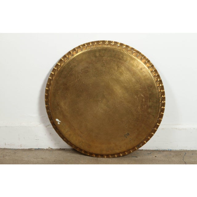 Large Syrian Hand-Hammered Brass Tray For Sale - Image 9 of 10