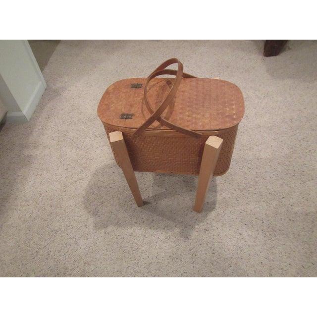 Vintage Picnic Basket Side Table - Image 4 of 11