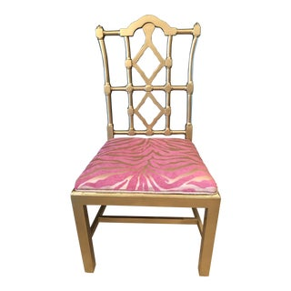 1960s Vintage Gold Chinoiserie Chair For Sale