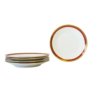 Italian Designer White Gold and Orange Salad or Dessert Plates by Richard Ginori - Set of 5 For Sale