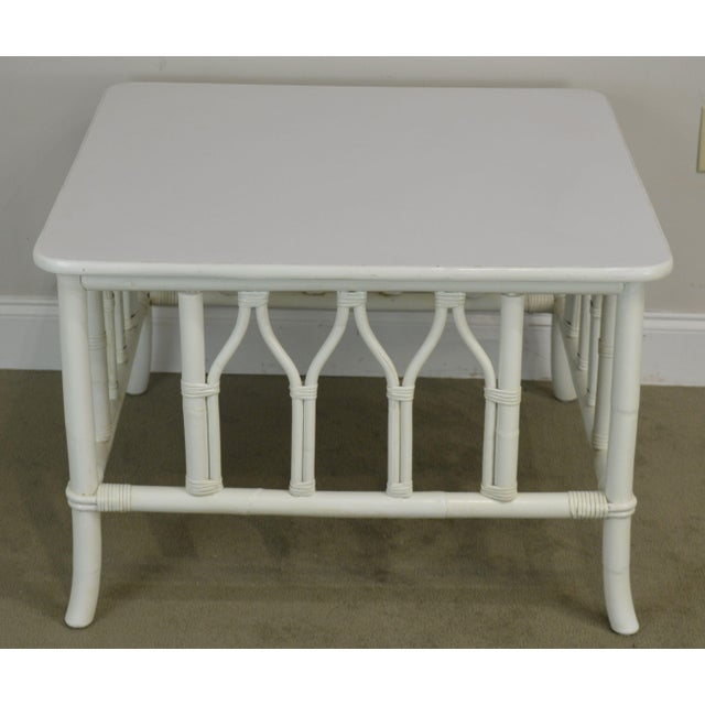 Traditional Ficks Reed White Painted Square Rattan Coffee Table For Sale - Image 3 of 13