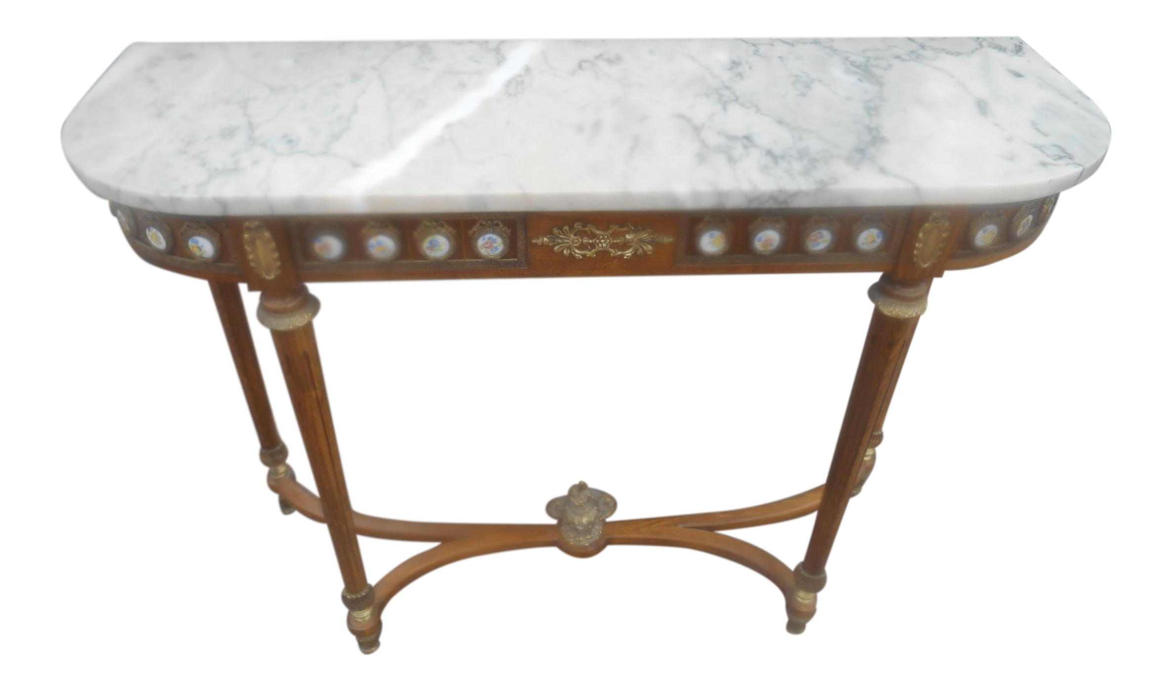 Antique French Louis XVI Marble Top Console Table