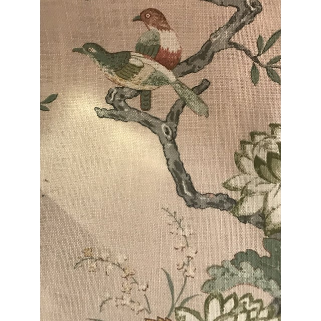 Chinoiserie G P & J Baker Oriental Bird Signature Blush Linen Blend Fabric - 4 Yards For Sale - Image 4 of 8
