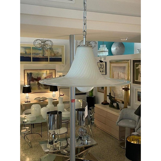 Vintage Vetri Murano Glass Pendant Chandelier With Chrome Hardware For Sale - Image 12 of 12