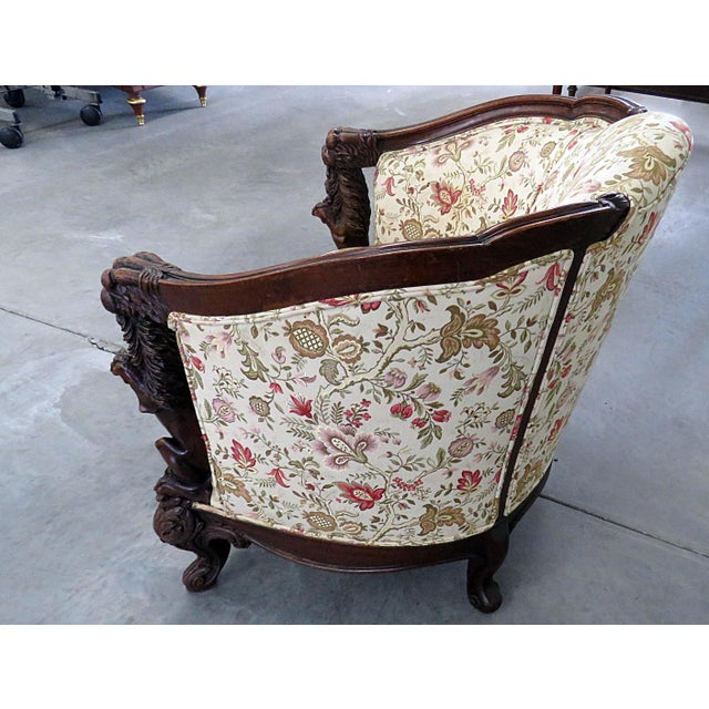 Textile Carved Victorian Bergere For Sale - Image 7 of 11