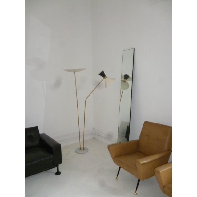 Beautiful Italian brass/marble/aluminium floor lamp Stilnovo style. 3 bulbs up to 100W each, with beautiful patina on the...