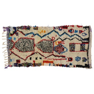 Vintage Berber Moroccan Boucherouite Azilal Rug - 3′4″ × 6′3″ For Sale