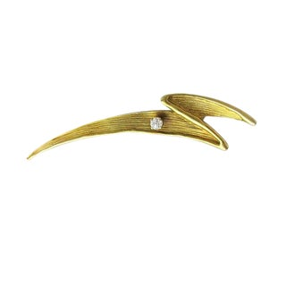 14k Gold and Diamond Lightning Brooch For Sale