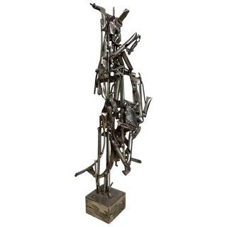 Albert Feraud Brutalist Mid-Century Modern Abstract Metal Sculpture, France For Sale