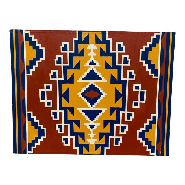 1970s Aztec Pattern Oil Painting For Sale