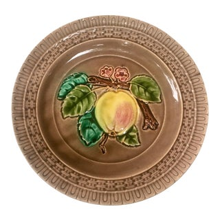 19th Century French Country Majolica Apple Plate For Sale