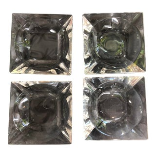 Val St Lambert Crystal Personal Ashtrays - Set of 4 For Sale
