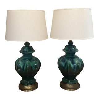 Vintage Dip Dyed Green & Blue Lamps - a Pair For Sale