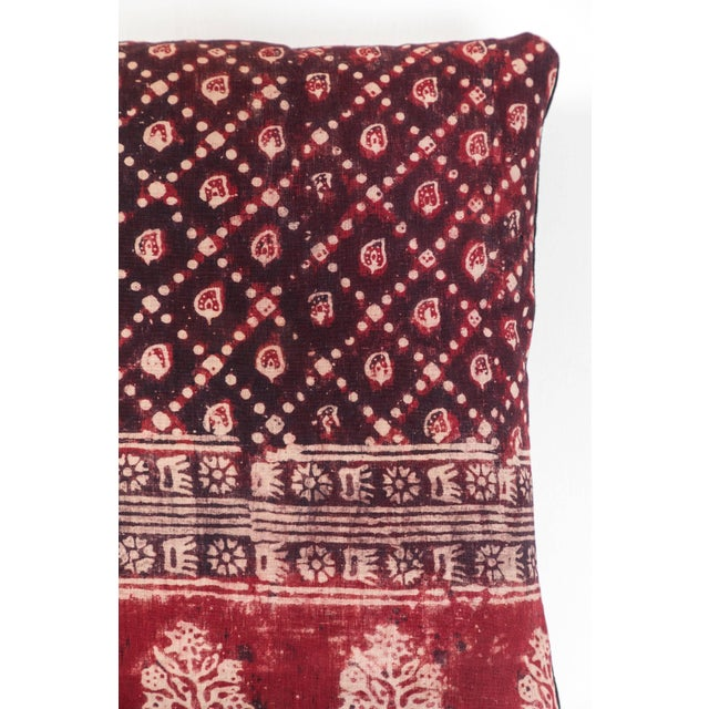 Asian Antique Indian Resist Dyed Pillow For Sale - Image 3 of 5