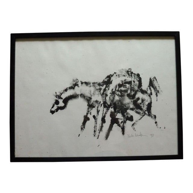 1990's Vintage Horse Watercolor Painting by Neith Nevelson For Sale