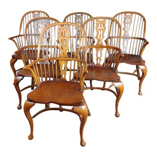 Windsor Chairs -Set of 6 Beautiful Vintage Bow Backs For Sale