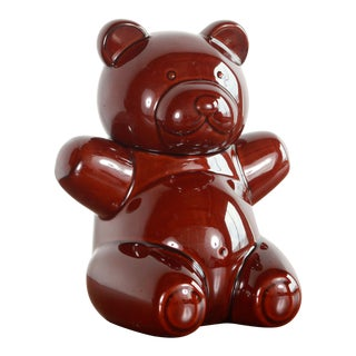 1960's Vintage Aramis Brown Glazed Pottery Teddy Bear Cookie Jar For Sale
