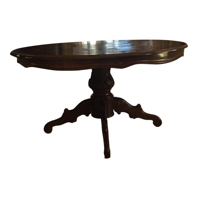 Inlaid Wood Round Coffee Table - Image 1 of 5