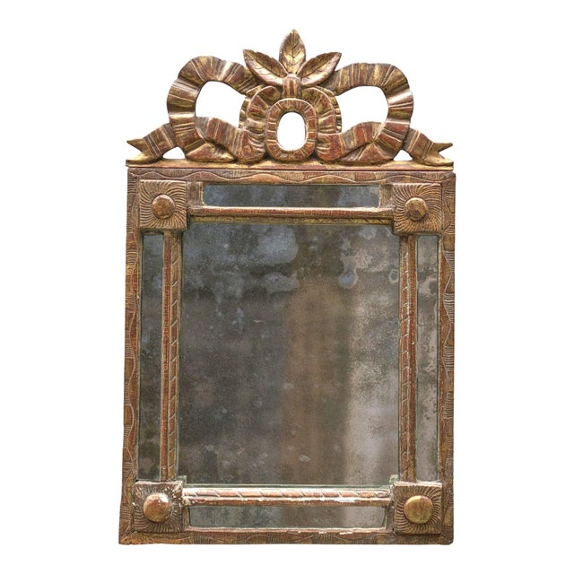 Gold 18th Century Caved Gilt Wood Smal Louis XVI Mirror For Sale - Image 8 of 8