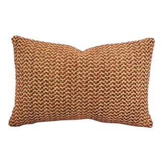 """F. Schumacher Colombo in Brick Lumbar Pillow Cover - 13"""" X 20"""" Terra Cotta and Cream Chenille Spot Rectangle Accent Cushion Case For Sale"""