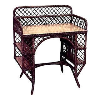 American Mission Wicker and Oak Desk For Sale