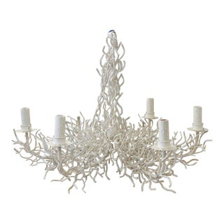 Large Metal Faux Coral 6 Arm Chandelier