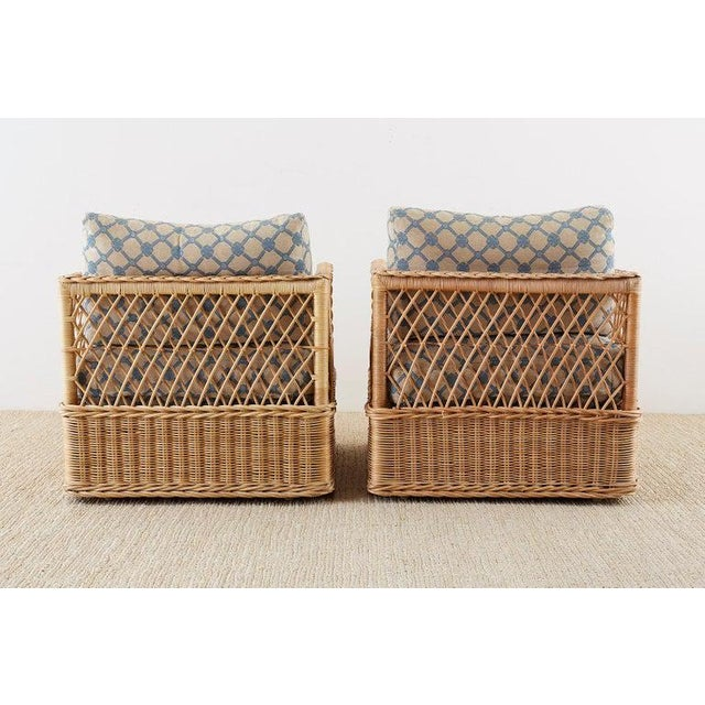 Pair of McGuire Rattan Wicker Lounge Chairs With Ottoman For Sale - Image 12 of 13