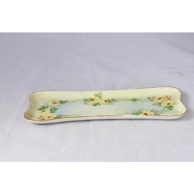 Blue Antique Hand-Painted Porcelain Yellow Rose Trinket Tray For Sale - Image 8 of 11