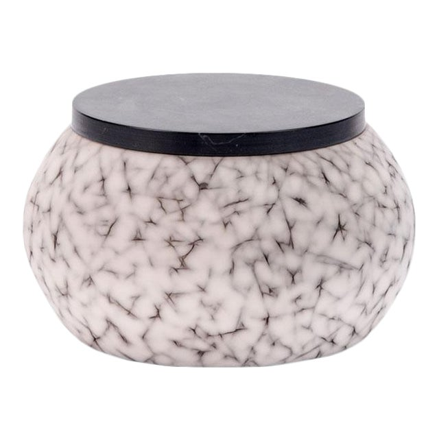 Light Charcoal Handmade Patterned Earthenware Small Round Box With Lacquer Lid by Gilles Caffier For Sale