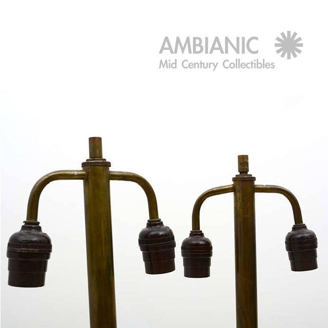 Brass Pair of Christian Fersen Table Lamps For Sale - Image 7 of 8