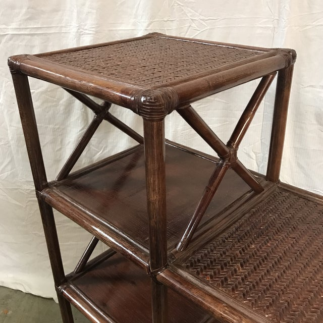 Rattan Stairstep Shelf For Sale - Image 4 of 6