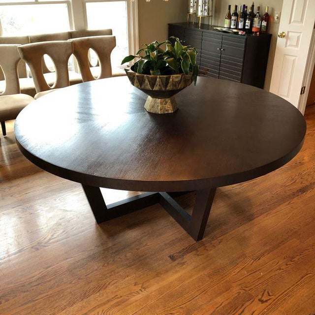 Purchased at Theodore's of Georgetown. Italian made gorgeous large round dining table with x base.