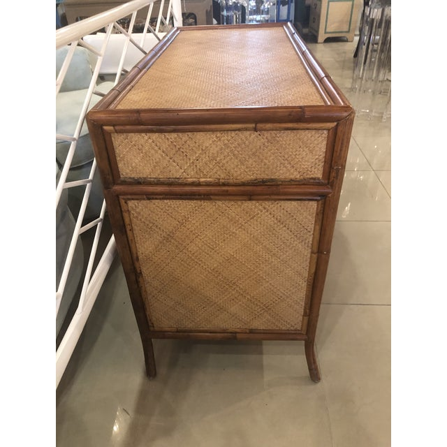 Asian Vintage E. Murio Chinoiserie Tropical Rattan Burnt Bamboo Grasscloth Chest of Drawers Dresser Credenza For Sale - Image 3 of 13