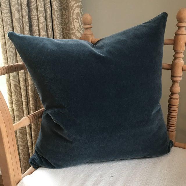 Hague Blue Mohair Velvet Pillows - a Pair For Sale - Image 5 of 9