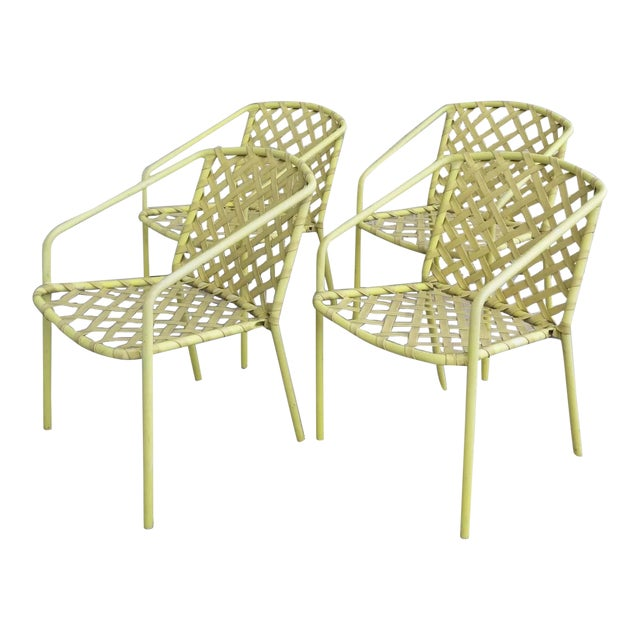 Four (4) Vintage Brown Jordan Yellow Strap Chairs - Set of 4 For Sale