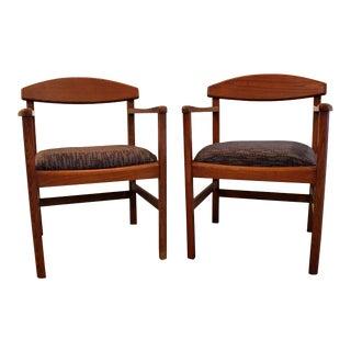 Mid-Century Danish Modern Edward Axel Roffman Teak Arm Chairs - A Pair