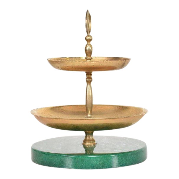 Aldo Tura Emerald Green Two-Tier Candy Dish, Italy, 1960s For Sale