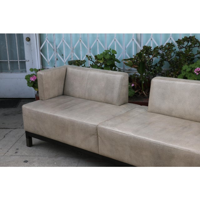 Modern Contemporary Leather Love Seat For Sale - Image 4 of 11